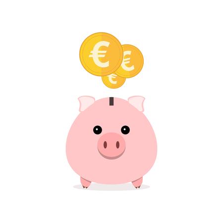 Roze spaarvarken en munten geïsoleerd. Spaarvarken met dalende muntstukken in flat design. Gouden euromunten. Vector illustratie.
