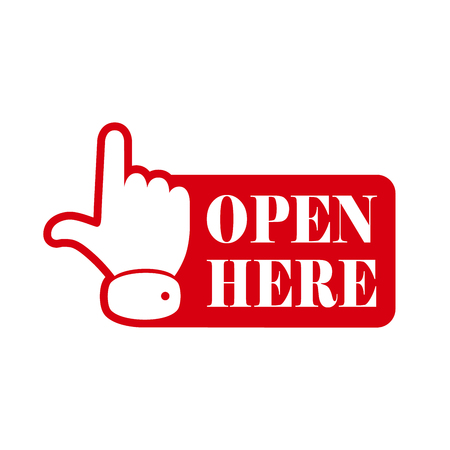 red  open: Open here sign with hand icon and with text. Red open here icon. Vector illustration.