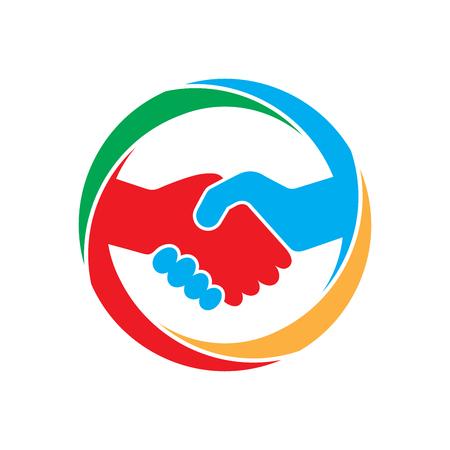 Abstract gekleurd handdruk pictogram. Handdruk teken in de cirkel, op een witte achtergrond. Vector illustratie.