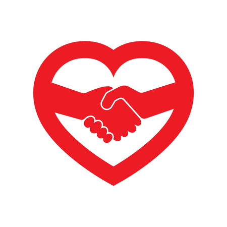Abstract red handshake icon. Handshake sign inside in the heart, on white background. Vector illustration.