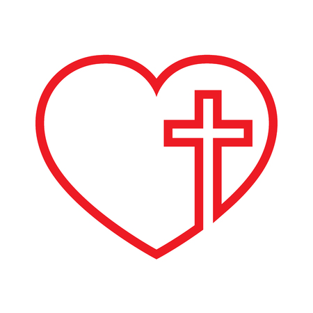 red sign: Christian cross icon in the heart inside. Red christian cross sign isolated on white background. Vector illustration. Christian symbol.