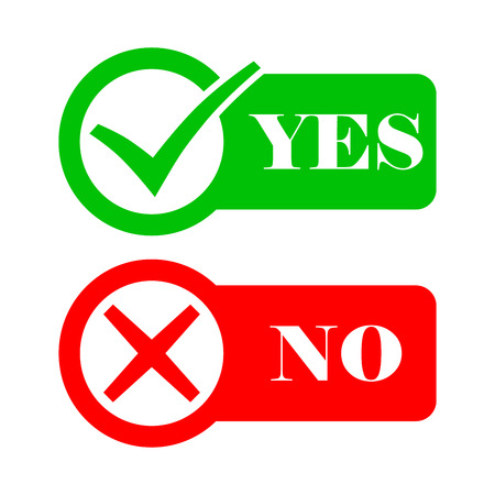 Yes and No check marks. Vector illustration. Red and gray check marks in circles on a white background. Illustration