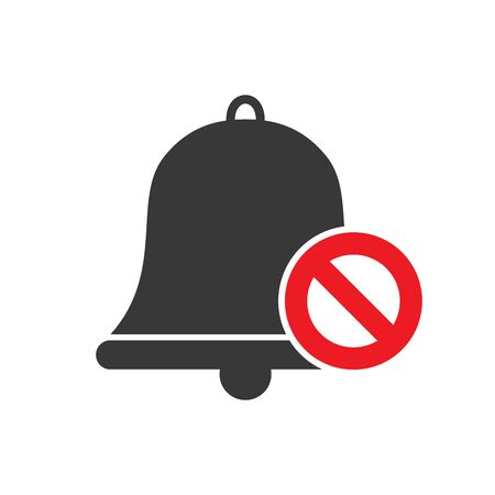 No bell flat icon. Symbol of stop sound. Vector illustration.