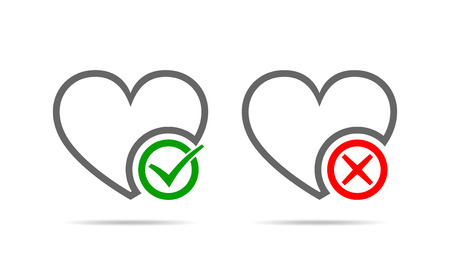 Hearts with Yes and No check marks. Yes and No check marks. Vector illustration. Gray hearts with red and green check marks on light background. Ilustração Vetorial