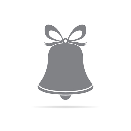 Christmas hand bell icon isolated. Simple gray hand bell with bow. Vector illustration. Illustration