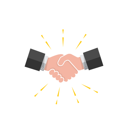 busines: Colored handshake icon on white background. Vector illustration. Illustration