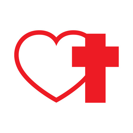 Christian Cross And Silhouette Of Heart Red Symbol Of Christian