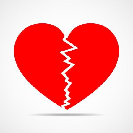Zwei Seiten eines roten Herzens. Abstraktes Herz auf hellem Hintergrund im flachen Design. Vektor-Illustration.