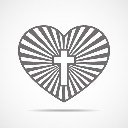 Christian Cross And Silhouette Of Heart Gray Symbol Of Christian