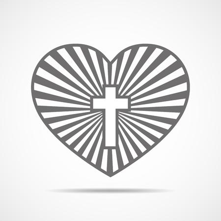 Heart with Christian cross inside. Vector illustration. Symbol of christian love, isolated on white background. Christian symbol.