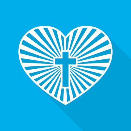 Heart With Christian Cross Inside Vector Illustration Symbol