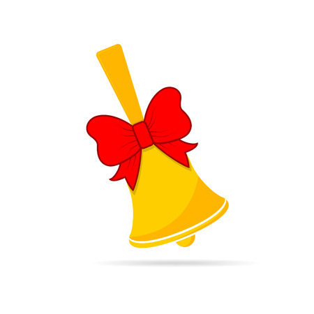 Yellow school bell with red bow. Vector illustration. Hand bell icon isolated on white background.