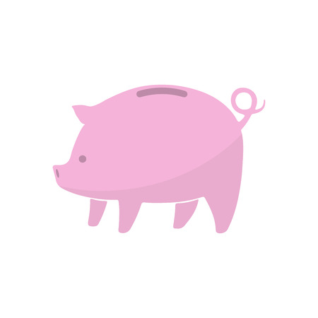 Piggy bank icon isolated on white background. Pink piggy bank in flat design. Vector illustration.
