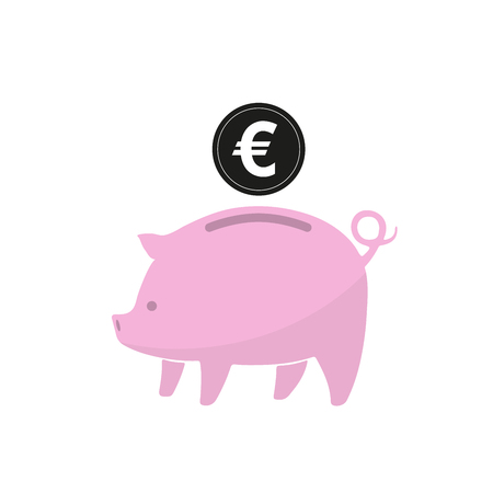 Pink piggy bank and coin isolated. Piggy bank with euro coin in flat design. Vector illustration.