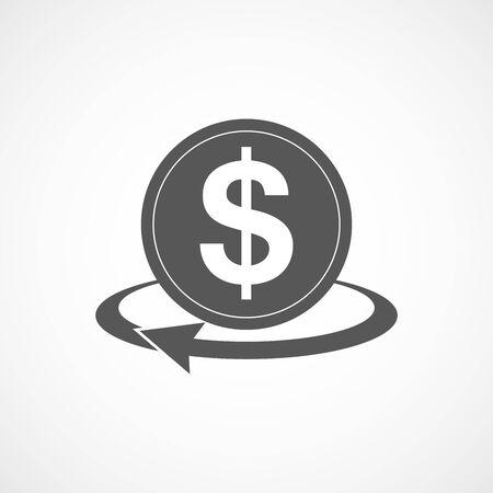 money transfer: Gray money transfer icon. Vector illustration. Gray symbol of money transfer isolated. Illustration