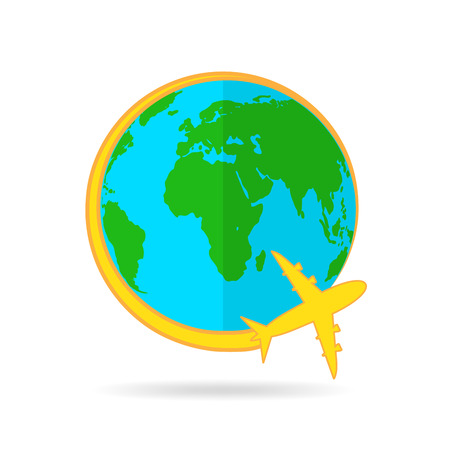 Concept of the air travel. Vector illustration. Airplane flying around the globe. Illustration