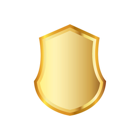 Golden shield icon. Vector illustration. Golden shield isolated on white background.