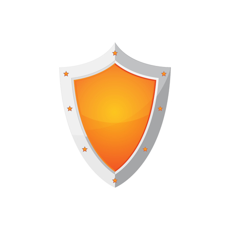 Glossy shield icon. Orange shield with stars, isolated on white background. Vector illustration.
