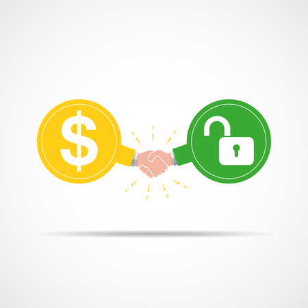 Symbol of handshake between dollar signs and open lock. illustration. The concept of a contract or agreement.