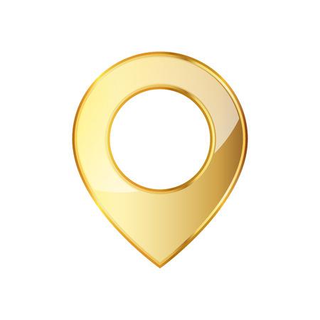 Icona di posizione del marcatore dorato. illustrazione. Puntatore di mappa dorata isolato su sfondo bianco.