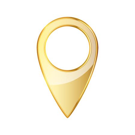 ゴールデン マーカーの場所アイコン。イラスト。白い背景で隔離の金マップ ポインター。