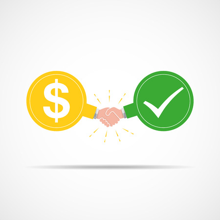 Symbol of handshake between dollar signs and check mark. illustration. The concept of a contract or agreement.