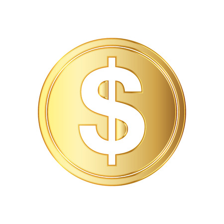 signo de pesos: Golden dolar coin icon. Vector illustration. Golden dollar coin isolated on white background. Vectores