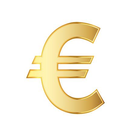 Golden symbol of the euro currency. illustration. Golden euro symbol isolated on white background. Illustration