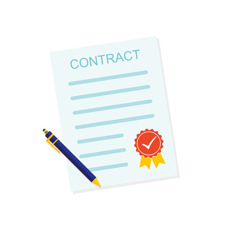 Colored contract icon. illustration. Business contract symbol with ball pen and sealed, isolated on white background.