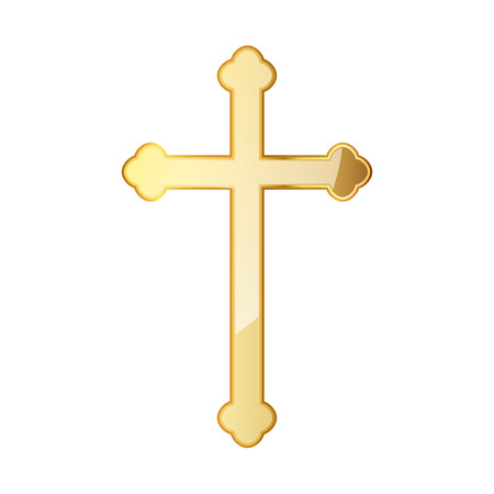 Golden Christian cross icon. illustration. Golden Christian cross isolated on white background.