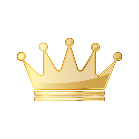 Golden crown icon. Vector illustration. Golden crown symbol isolated on white background. Çizim
