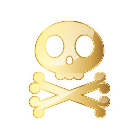 skull and crossed bones: Golden skull with crossbones. Vector illustration. Golden human skull on white background.