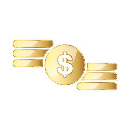 Golden symbol of the dollar. Vector illustration. Golden dollar symbol isolated on white background.