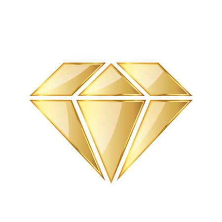 Golden diamod icon. Vector illustration. Golden diamond symbol on white background.