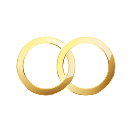 Golden wedding rings. Couple of gold wedding rings isolated on white background. Vector illustration.
