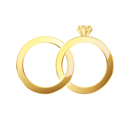 Golden ring and ring with diamond. Couple of gold wedding rings isolated on white background. Vector illustration Illustration