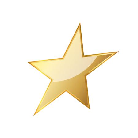 Golden star icon. Vector illustration. Golden star icon on white background.