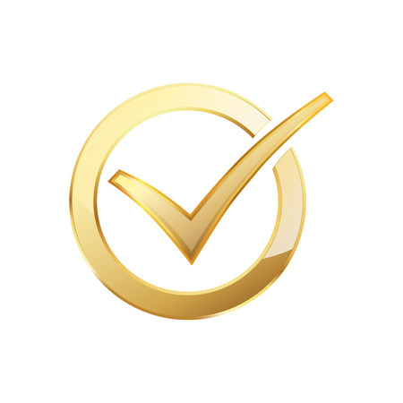 Golden check mark inside in the golden circle. Vector illustration. Golden ring with check mark
