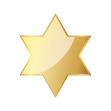 Golden hexagonal star icon. Vector illustration. Glossy golden star.