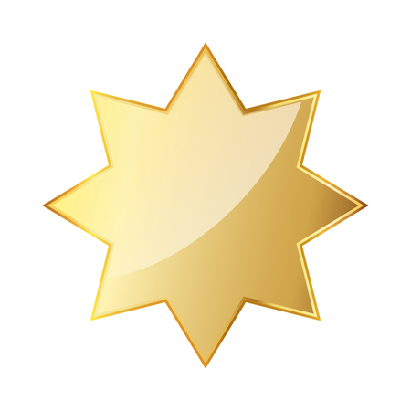 Golden octagonal star icon. Vector illustration. Glossy golden star isolated on white background.