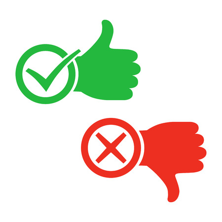 Thumb up icon with check mark. Thumb down with cross mark. Vector illustration. I like and dislike signs in flat design.