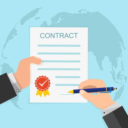 signing: Agreement concept - hand signing of paper contract. Vector illustration.