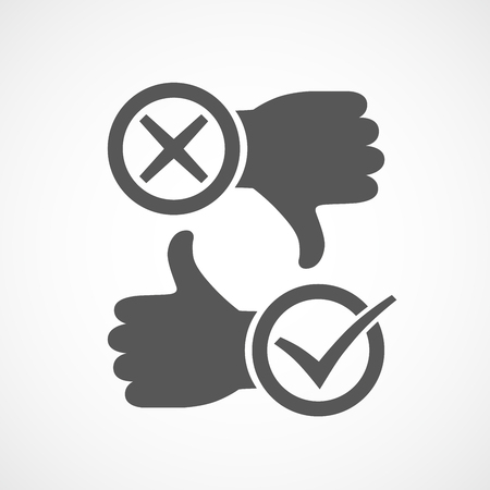 Thumb up icon with check mark. Thumb down with cross mark. Vector illustration.