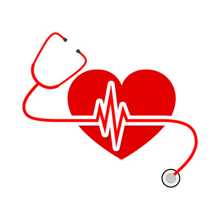 Red heart with stethoscope and heartbeat sign. Vector Illustration.