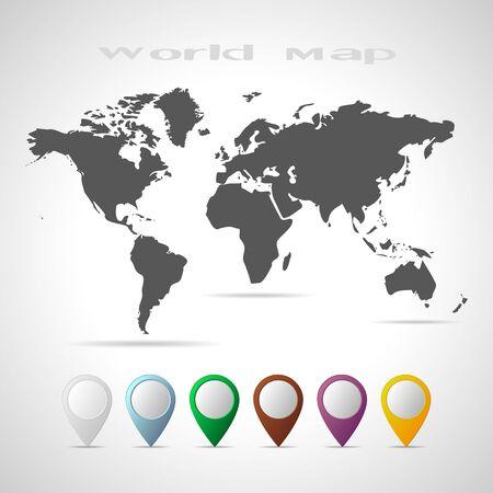 Flat world map globe sign icon world map geography symbol circle flat world map black world map vector illustration flat world map with set gumiabroncs Images