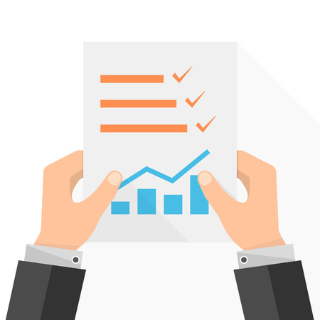 The paper checklist in the hand. Vector illustration. Report file in flat design. Concept of quality control. Illustration