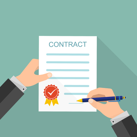Agreement Concept  Hand Signing Of Paper Contract Vector