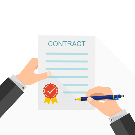 signing: Agreement concept - hand signing of paper contract. Vector illustration. The concept of a successful transaction.