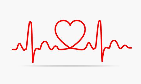 Rood hart icoon met teken hartslag. Vector illustratie. Hart teken in flat design.