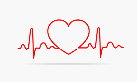 Red heart icon with sign heartbeat. Vector illustration. Heart sign in flat design. 版權商用圖片 - 74562049